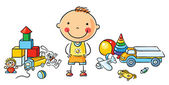 Little Cartoon Boy with Toys — Vector de stock