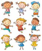 Nine Happy Kids Dancing or Jumping — Vecteur