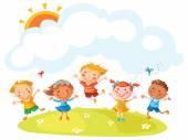 Happy Cartoon Kids Jumping — Stock Vector