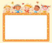 Happy Kids Rectangular Frame  — Stock Vector