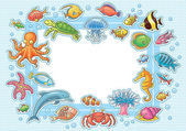 Frame with Sea Animals — Stock Vector