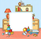 Square Frame with a Children Room — Stock Vector