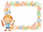 Child's Drawings Frame with the Little Painter — Stok Vektör