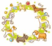 Round Frame with Cartoon Dogs — Stok Vektör