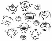 Simple Cartoon Black and White Monsters Set — Vector de stock