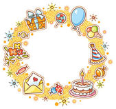 Round Birthday Frame — Stock Vector