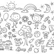 Black and white doodle set — Stock Vector #65662093