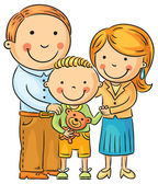 Happy Family with a Little Son — Stock Vector