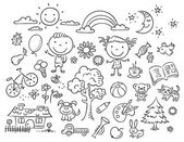 Black and white doodle set — Vetor de Stock