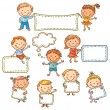 Kids with Blank Signs — Stock Vector #66047777