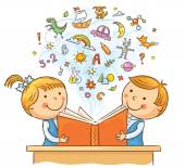 Children Reading a Book Together — Stock Vector