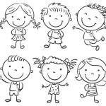 Ten Happy Cartoon Kids — Stock Vector #66217707