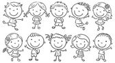 Ten Happy Cartoon Kids — Vettoriale Stock