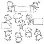Kids with Blank Signs, black and white outline — Stock Vector