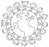 Children round the Globe — Stock Vector