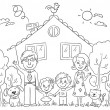 Family at the House, Outline — Stock Vector #68055571