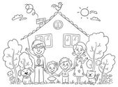 Family at the House, Outline — Stock Vector