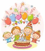 Happy Kids at the Birthday Party — Stock Vector