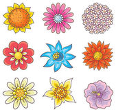 Cartoon Hand Drawn Flowers — Stock vektor