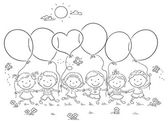 Kids with Balloons Outline — Stock Vector