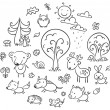 Cartoon Forest Set, Black and White — Stock Vector #71636423