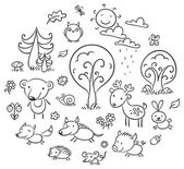 Cartoon Forest Set, Black and White — Stock Vector