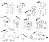 Antonyms Cartoons, Black and White — Vetor de Stock