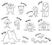 Antonyms Cartoons, Black and White — Stock Vector