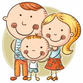 Happy cartoon family with one child — Stock Vector