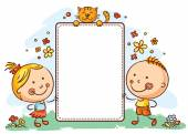 Cartoon kids with a frame with copy space — Stock Vector