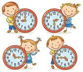 Little kids telling time set — Stock Vector