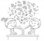 Crianças lendo um livro juntos — Vetor de Stock