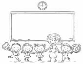 Schoolkids and teacher at the blackboard — Stock Vector