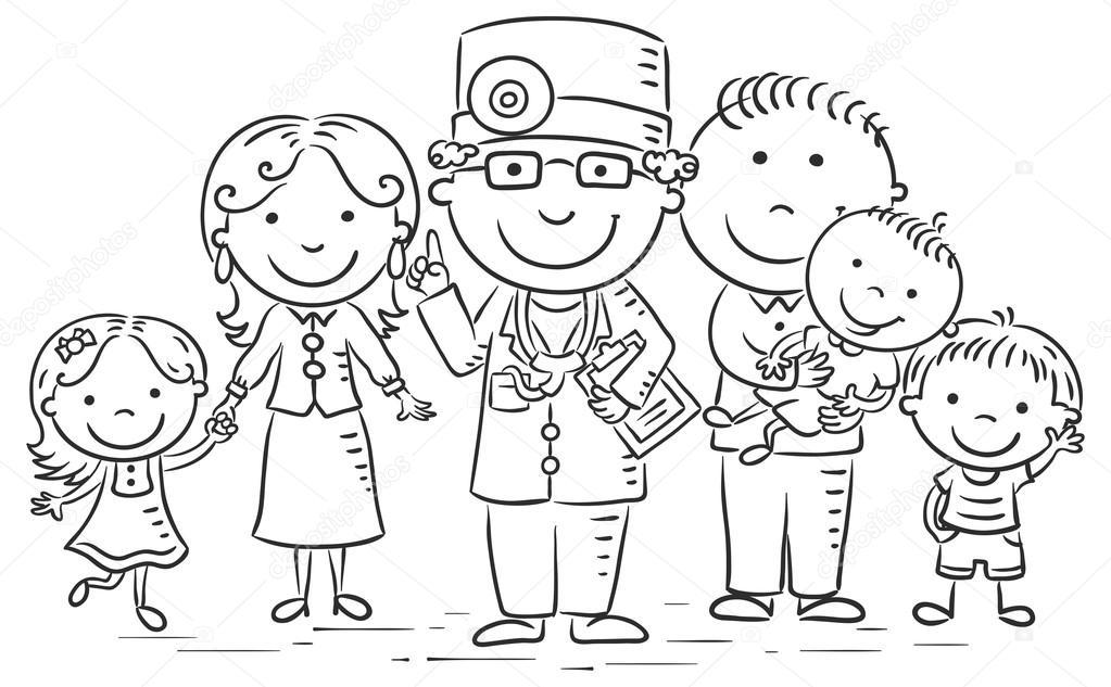 M dico de familia de dibujos animados vector de stock - Familias en blanco y negro ...