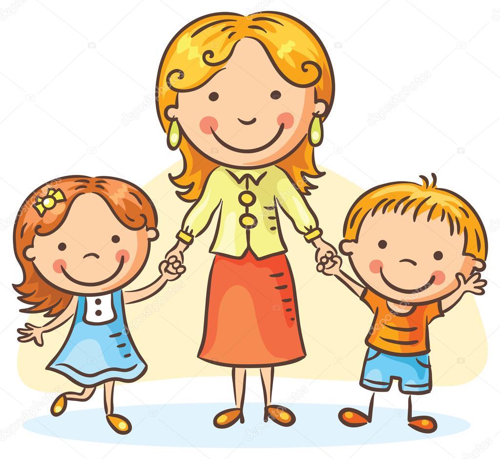 Moeder met twee kinderen stockvector katerina dav 91448648 - Twee meisjes en een jongen ...