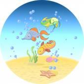 Peces en el océano — Vector de stock