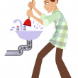 Man cleaning the pipe — Stock Vector #69539495