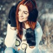 Girl in winter outdoors — Stock Photo #55802523