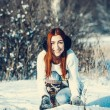 Girl in winter outdoors — Stock Photo #55802535