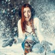 Girl in winter outdoors — Stock Photo #55802543