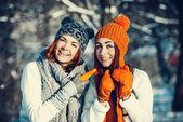 Two girl friends in winter outdoors — Fotografia Stock
