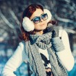 Girl in winter outdoors — Stock Photo #56428779