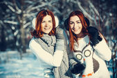 Two girl friends in winter outdoors — Stock Photo