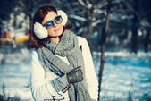 Girl in winter outdoors — Stock Photo