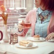 Young woman in cafe — Stock Photo #65448797