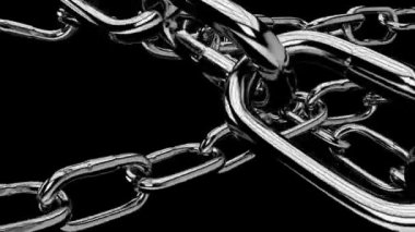 Symbolic chains pulled high with strength,with alpha channel — Stockvideo