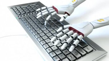 Robot with keyboard — Stock Video