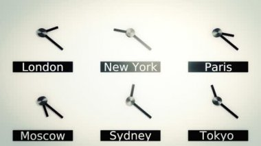 Time zones around the world in vintage style — Stockvideo