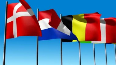 The 28 flags of the European Community in 2013 — Vídeo Stock