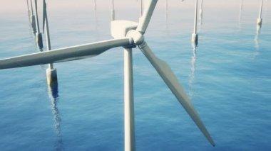 Flying over wind turbines in the ocean — Stock Video